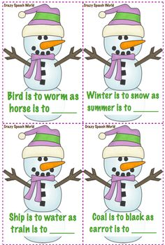Crazy Speech World: Snowmen Language Activities!  Activities to target vocabulary, analogies, and verbs!