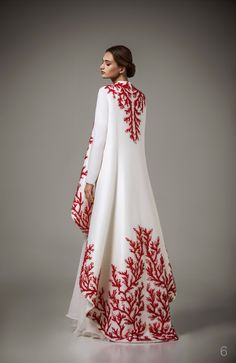 Haute Couture Caftan 2016 Special Occasion Dresses With Red Embroidery Robe White Long Sleeve Muslim Evening Dress F12305