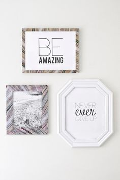 Sarah M. Dorsey shows us how to make these tres frugal diy marbled picture frames for not a lot of money and in no time. Diy Craft Projects, Craft Tutorials, Diy Crafts, Diy Presents, Diy Wall Art, Wall Decor, Photo Craft, Diy Signs, Diy Frame