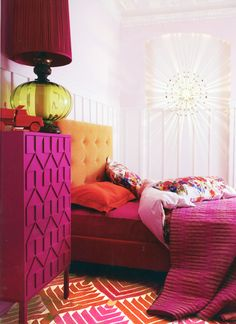 Extraordinary room!  Madeline Weinrib Orange & Pink Lulu Cotton Carpet featured in Living Etc May 2012.