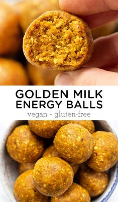 Golden Milk Energy Balls [Vegan + Gluten-Free] – Simply Quinoa No-Bake Golden Milk Energy Balls are a quick and healthy snack that you can take with you on the go! Easy to make recipe, vegan, gluten-free, made with dates, and double as a great dessert! Healthy Vegan Snacks, Vegan Recipes, Snack Recipes, Vegan Snacks On The Go, Healthy Milk, Yummy Recipes, Diet Recipes, Tolle Desserts, Snacks Sains