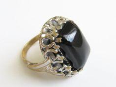 Vintage Chunky Black Onyx Art Deco Ring size by GrandVintageFinery, $24.00