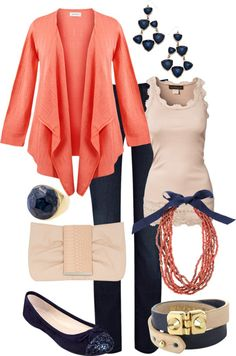 """Navy and Coral"" by maggiesuedesigns on Polyvore Rick rack around undershirt :)"