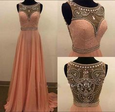 Backless Prom Dresses,Beading Prom Dress,Open Back Formal Gown,Open Backs Prom Dresses,Sexy Evening Gowns,Chiffon Formal Gown,Blush Pink Evening Party Gowns For Teens