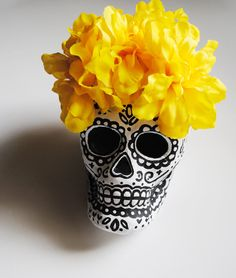 Paper Mache Sugar Skull with Yellow Flowers... The Perfect Centerpieces