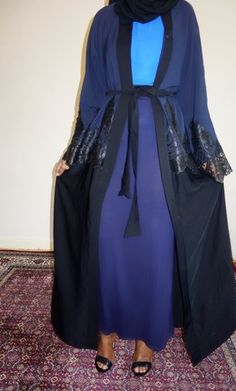 Navy Blue and Black with Lace Open Abaya | Amal clothing abaya thobe khaleeji hijab jilbab niqaab jewellery
