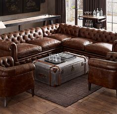 RH's Kensington Leather Corner Sectional:A masterful reproduction by Timothy Oulton of the classic Chesterfield style, our sofa evokes the grand gentlemen's club tradition. Leather Furniture, Home Furniture, Leather Sofas, Rustic Furniture, Antique Furniture, Modern Furniture, Leather Corner Sofa, Furniture Design, Coaster Furniture