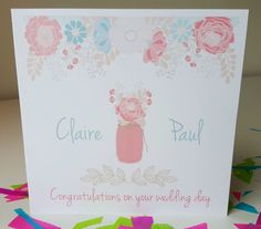 PERSONALISED Handmade Vintage Shabby Chic Floral Style Wedding Day Card