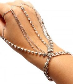 Hand Chain Gypsy Style Bracelet & Ring Combo Silver Crystal