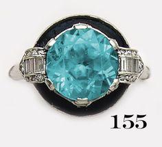 Art Deco Zircon, diamond, enamel  and platinum ring. Auger