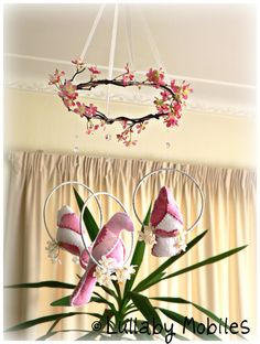 Spring bird mobile - baby mobile - white and pink love birds - cherry blossoms - you choose your colours - nursery decor