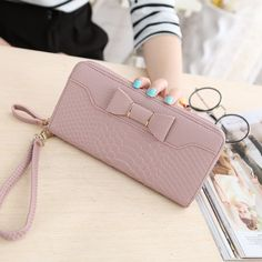 d2ab3bb07 Hot Sale Women Lady Long Wallets Purse Female Candy Color Bow PU Leather  Carteira Feminina for Coin Card Clutch Bag-in Wallets from Luggage & Bags  on ...