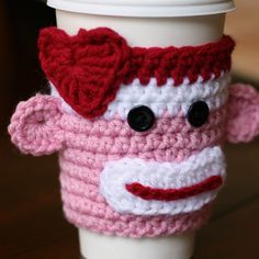 {New Listing} Valentine Sock Monkey Coffee Sleeve - Chaos & Love