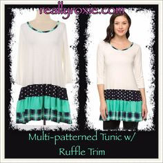 Multi-patterned Tunic with Ruffle Trim – Really Roxie