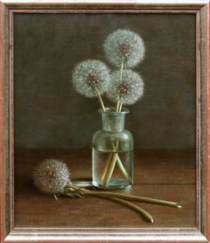 Helmantel, Henk Dandelions in Jar Realistic Paintings, Paintings I Love, Art Floral, Art Pictures, Photos, Illustration Art, Illustrations, Dutch Painters, Dutch Artists