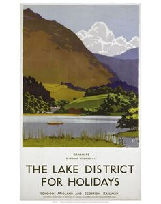 English Travel Poster produced for the London Midland Scottish Railway LMS promoting rail travel to the Lake District The poster shows a view of Travel English, British Travel, Lake District Holidays, Famous Marines, National Railway Museum, Poster Prints, Art Prints, Posters Uk, Modern Posters