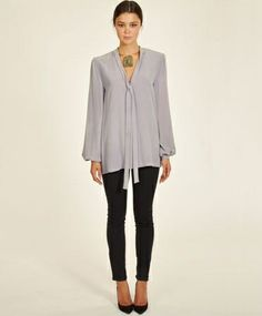 Lavender Tie Blouse by AWAVEAWAKE. Love the top! And paired with skinny black pants.
