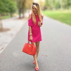 Adoro colori vivaci! 💜 Borsa #MichaelKors, vestitino #Bershka, scarpe #MelbyMelissa