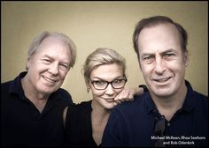 Michael McKean, Rhea Seehorn and Bob Odenkirk photographed by Kim Jew, one of our most well-known local photographers. Better Call Saul is one of the best shows on TV right now. Rhea Seehorn, Michael Mckean, Vince Gilligan, Greys Anatomy Memes, Call Saul, Walter White, Celebrity Portraits, Breaking Bad, Led Zeppelin