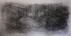 """""""(UN)DRAWING # 14"""" 2012-13, 120"""" x 60"""", Charcoal on paper -- http://cargocollective.com/flaviac/"""