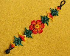 Plant Of Life, Huichol Art, Mexican Jewelry, Native Beadwork, Mexican Folk Art, Flower Bracelet, Beading Patterns, Tatting, Cactus Tattoo
