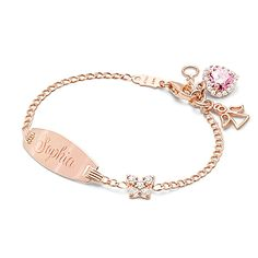 Pavé Butterfly, Baby/Children's Engraved ID Bracelet - 14K Rose Gold