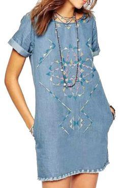 Valeska Blue Denim Embroidery Mini Dress