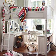 Student Bedroom with loft bed with desk at bottom Bedroom Loft, Girls Bedroom, Bedroom Decor, Loft Beds, Bedrooms, Bedroom Ideas, Childs Bedroom, Children's Furniture Store, Student Bedroom