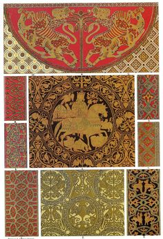 """Byzantine Weaving and Embroidery    """"Sicilian articles exhibiting clearly the influence of Arabian ornamentation, without denying Byzantine forms. In these woven fabrics the ornament is always treated as surface decoration. The plants and animals which we see applied, do not exactly intimate nature, but are more or less idealised."""""""