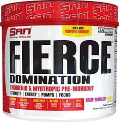 SAN Fierce Domination Pre Workout Powder, Ragin' Raspberry Lemonade, 243.9 Gram