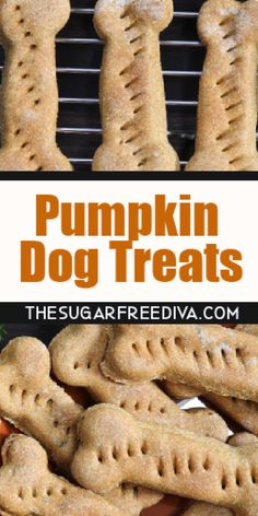 Pumpkin Dog Treats, the perfect homemade dog bone treat that your dog will love. Simple ingredients and easy to make! Dog Cookie Recipes, Easy Dog Treat Recipes, Dog Biscuit Recipes, Dog Food Recipes, Simple Dog Treat Recipe, Diabetic Recipes, Beef Recipes, Dessert Recipes, Puppy Treats