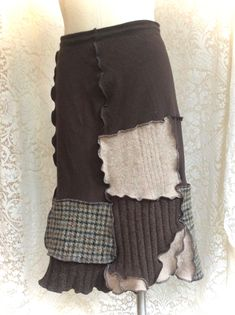 A new post in my Etsy Shop, Sweater Skirt Upcycled Patchwork Shades of brown, grey and oatmeal in Cotton and Irish Donegal Wool, Women Medium to Large, #SK483