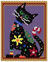 Calico Cat by Sigrid Wynne-Evans Graph provided in color code mode with list of Delicas needed, thumbnail. 18 colors Stitch: brick or peyote Beads Used: Delicas Approx Finished Size: 2.8 X 3,6 inches Pages to Print: 3