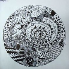 Students enjoyed creating a Zendala (hybrid Zentangle and Mandala – an artwork made in a circle) using marker only.