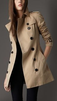 Classic Burberry Trench- not full length, but able to look good either wearing heels or flats. Could do with one with a tie however.