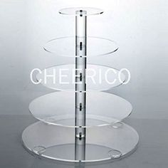 5 Tier Large Round Maypole Wedding Acrylic Cupcake Stand Tree Tower Cup Cake Display