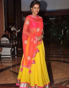 Asin in a bright yellow lehenga choli at genelia ritesh sangeet ceremony Lehenga Choli, Anarkali, Sarees, Indian Lehenga, Indian Dresses, Indian Outfits, Western Outfits, Mehendi, Ethnic Fashion