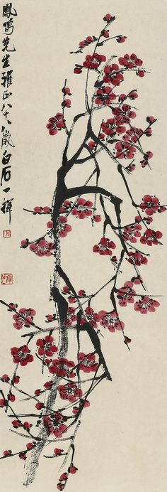 Plum Blossoms by Qi Baishi: One of the most beloved flowers in China, plum blossoms are seen as both a symbol of winter as well as a harbinger of spring. Since they bloom most vividly amidst the winter snow, after most other plants have shed their leaves, and before other flowers appear, they are seen as an example of resilience and perseverance in the face of adversity and are a metaphor for inner beauty and humble display under adverse conditions. via mandarinforme.com #Painting #Qi_Baishi