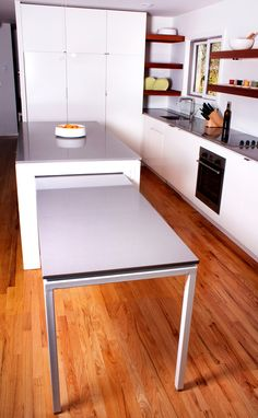 Bunker Workshop - Interior Design Boston -  pull-out table in island