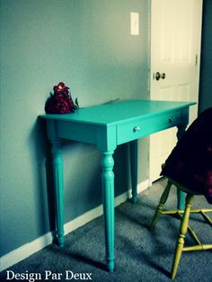 repaint my desk & file cabinets turquoise - maybe paint the nobs cherry red?