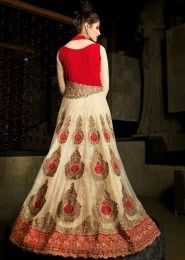 Party Wear Net Red Embroidered Work Anarkali Suit