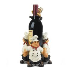 A creative way to display a bottle of wine is to have an array of chefs help hold the bottle aloft. Place in the center of a table with friends and family to enjoy the scene or give as a fun gift to the wine lover in your life. Wine Decor, Vases Decor, Biscuit, Medallion Wall Decor, Wall Candle Holders, Wine Bottle Holders, Statue, Diy Wall Art, Cheap Home Decor