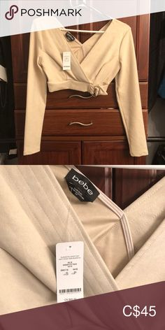 Suede Like Crop Top - Bebe 💕 New with Tags 💕 Suede like Material 💕 Gold Buckle bebe Tops Crop Tops Plus Fashion, Fashion Tips, Fashion Trends, Top Colour, Khaki Pants, Blazer, Crop Tops, Tags