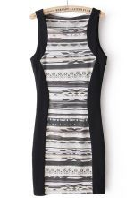 Black Sleeveless Geometric Print Bodycon Dress $33.61