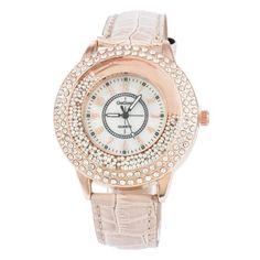 Womens Classy Crystal Leather Fashion Watch