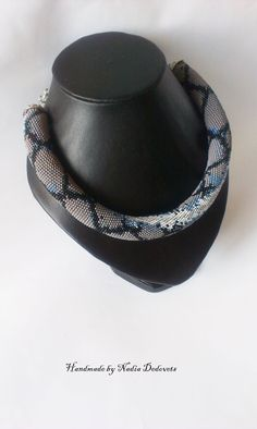 Thick knit necklace of beads Snake Python Crochet by NadiaDedovets