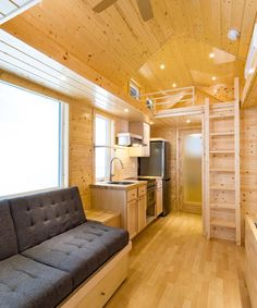Inside are pre-finished pine tongue-and-groove walls, pine trim, and oak hardwood flooring.