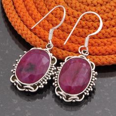 925 SOLID STERLING SILVER RUBY EARRING JEWELLERY 8.36g DJER2697 #Handmade #EARRING