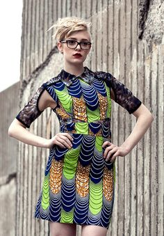 """""""Prep"""" Collared dress in wax cloth and tie dye mesh by I heart Norwegian Wood, via Flickr"""