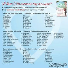 What's your Christmas toy name? Sparkles the Self-Righteous Pony Christmas Names, What Is Christmas, Christmas Quotes, Christmas Toys, Christmas Humor, Christmas Stuff, Funny Nicknames, Funny Names, Christmas Name Generator